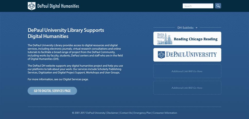 Digital Humanities DePaul Library Website