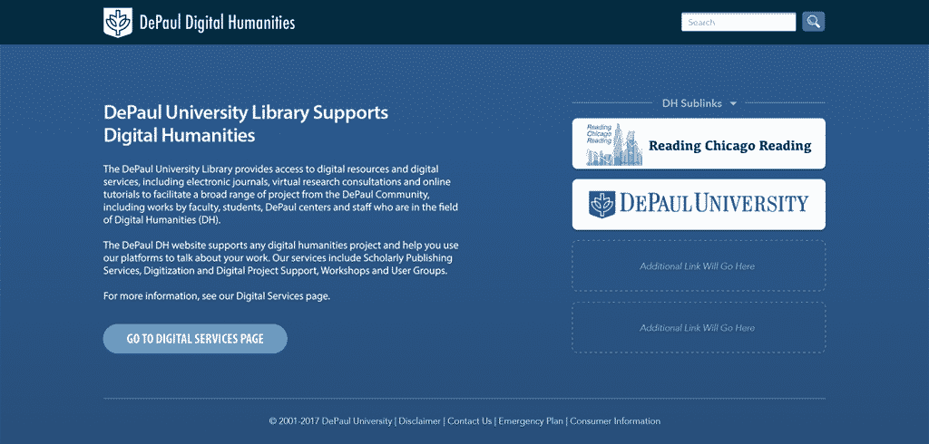 Digital Humanities DePaul Library Website